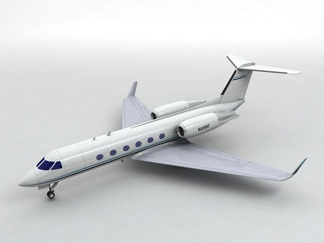 gulfstream iv aircraft 3d model low-poly max obj mtl 3ds dxf stl wrl wrz 1