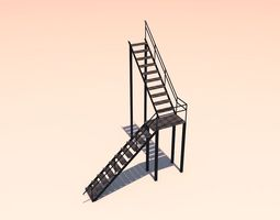 Metal stairs 3D asset low-poly