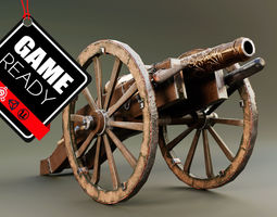 Cannon 3D model low-poly