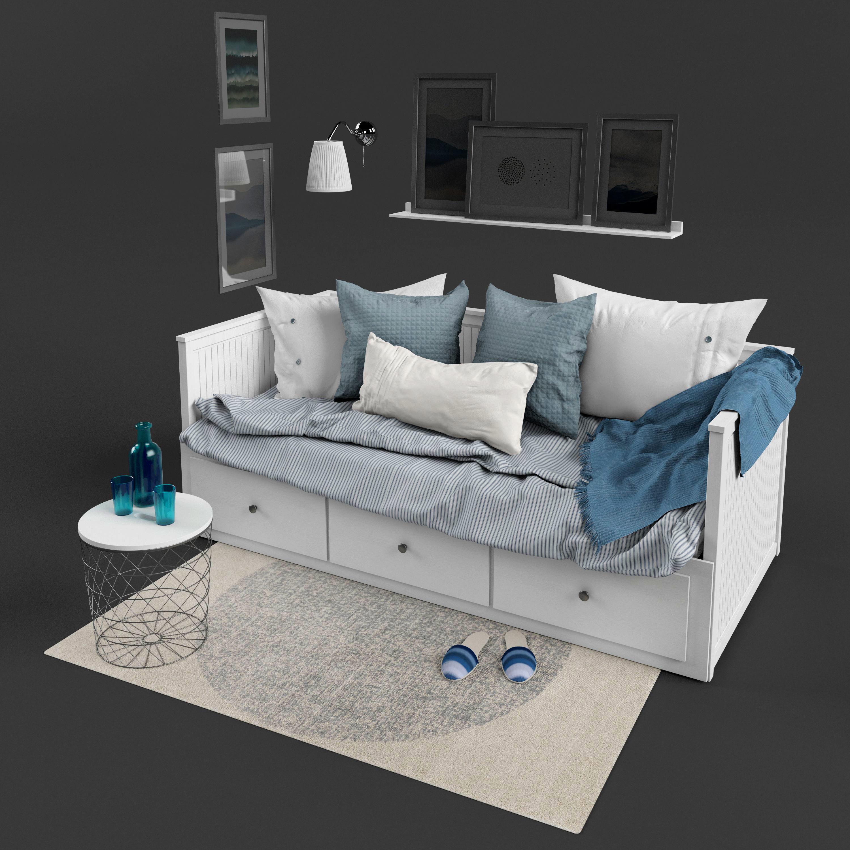 Ikea Hemnes Bedbank.3d Ikea Hemnes Bed Cgtrader