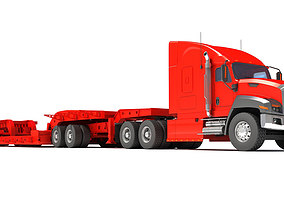 Lowboy Trailer with Truck 3D