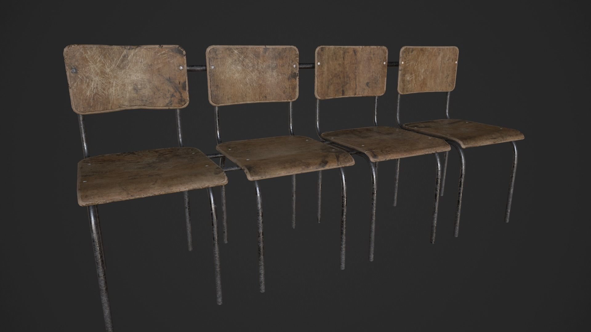 Chair Bench - Multichair - Low Poly