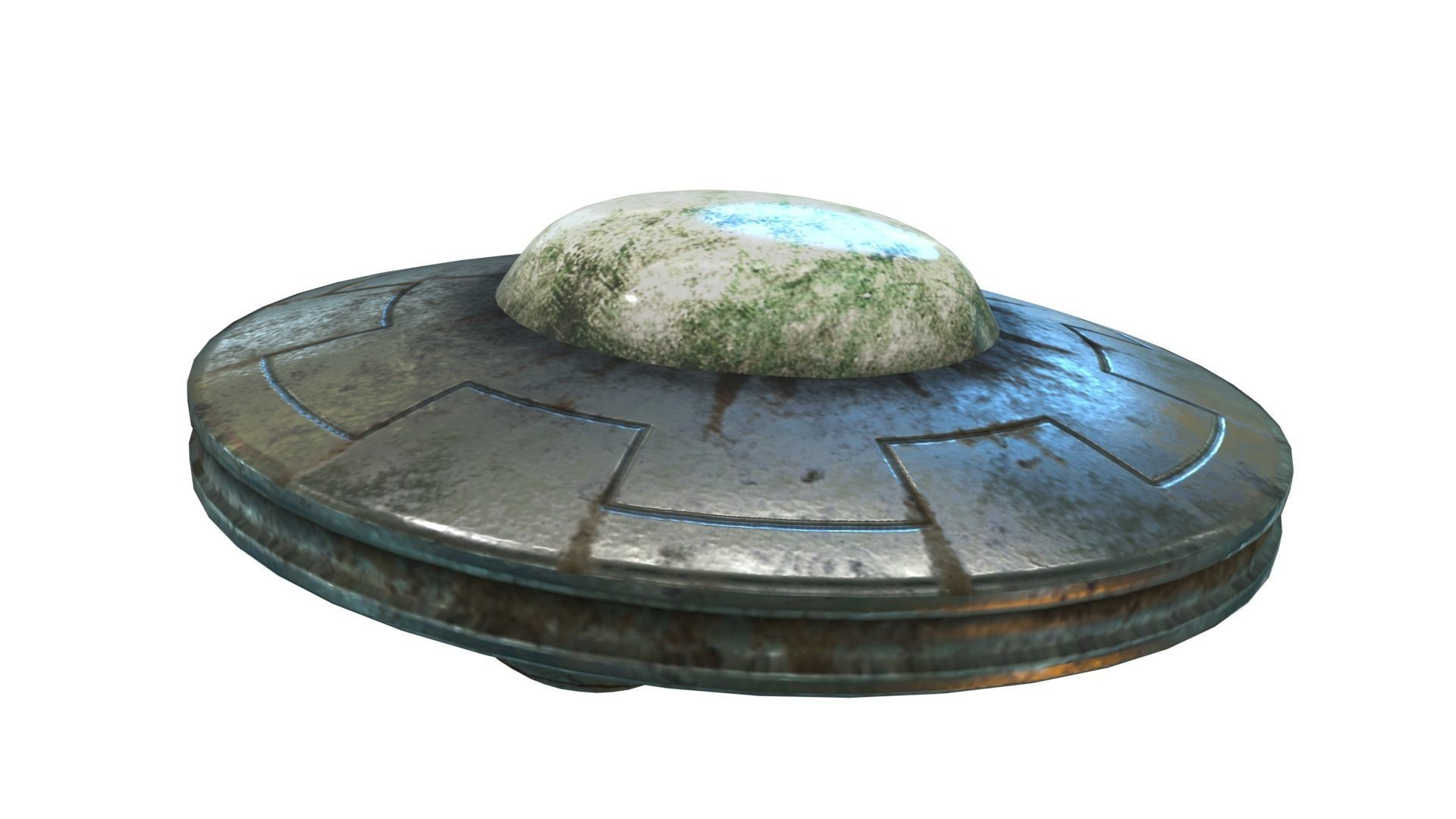 Low Poly Animated UFO With PBR Material