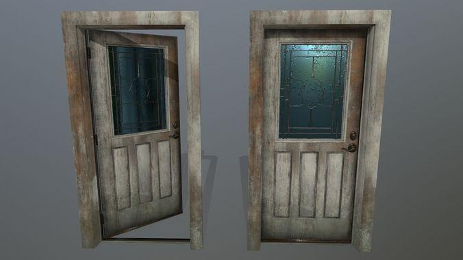door  1 3d model low-poly obj mtl fbx blend 1