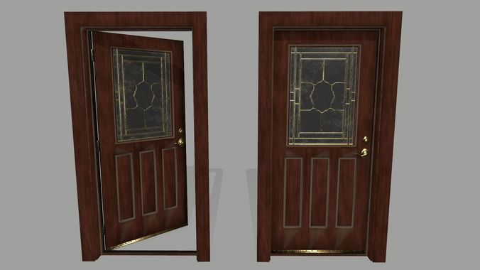 door  1     3d model low-poly obj mtl fbx blend 1