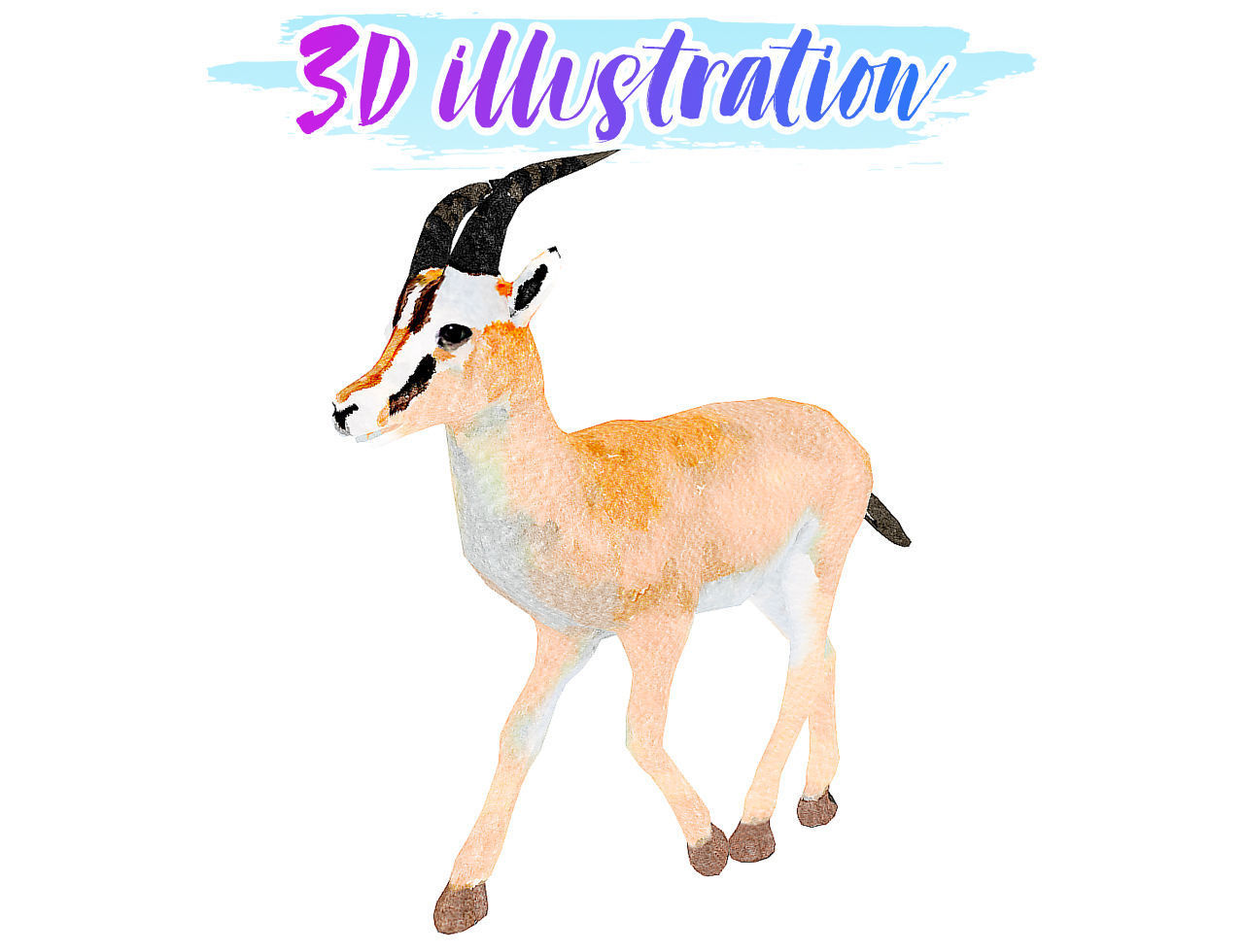 Low Poly Gazelle 2 Illustration Animated - Game Ready