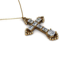 3D print model precious cross pendant