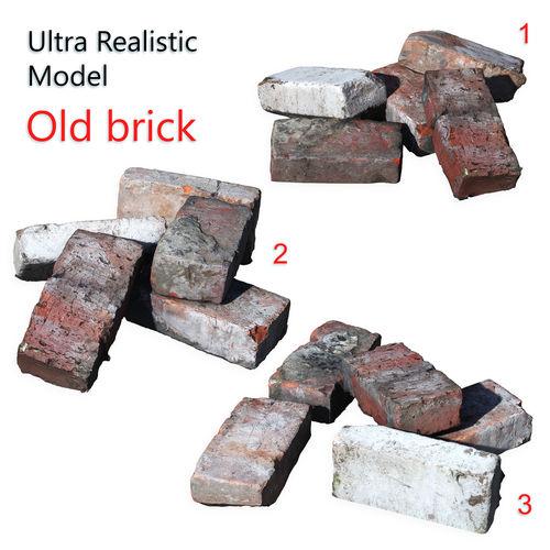 ultra realistic old brick scan 8k hd 3d model max obj mtl fbx 1