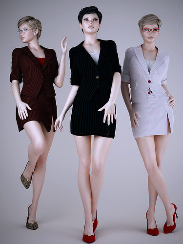 wear work uniforms office girl 3d model max obj mtl fbx 1