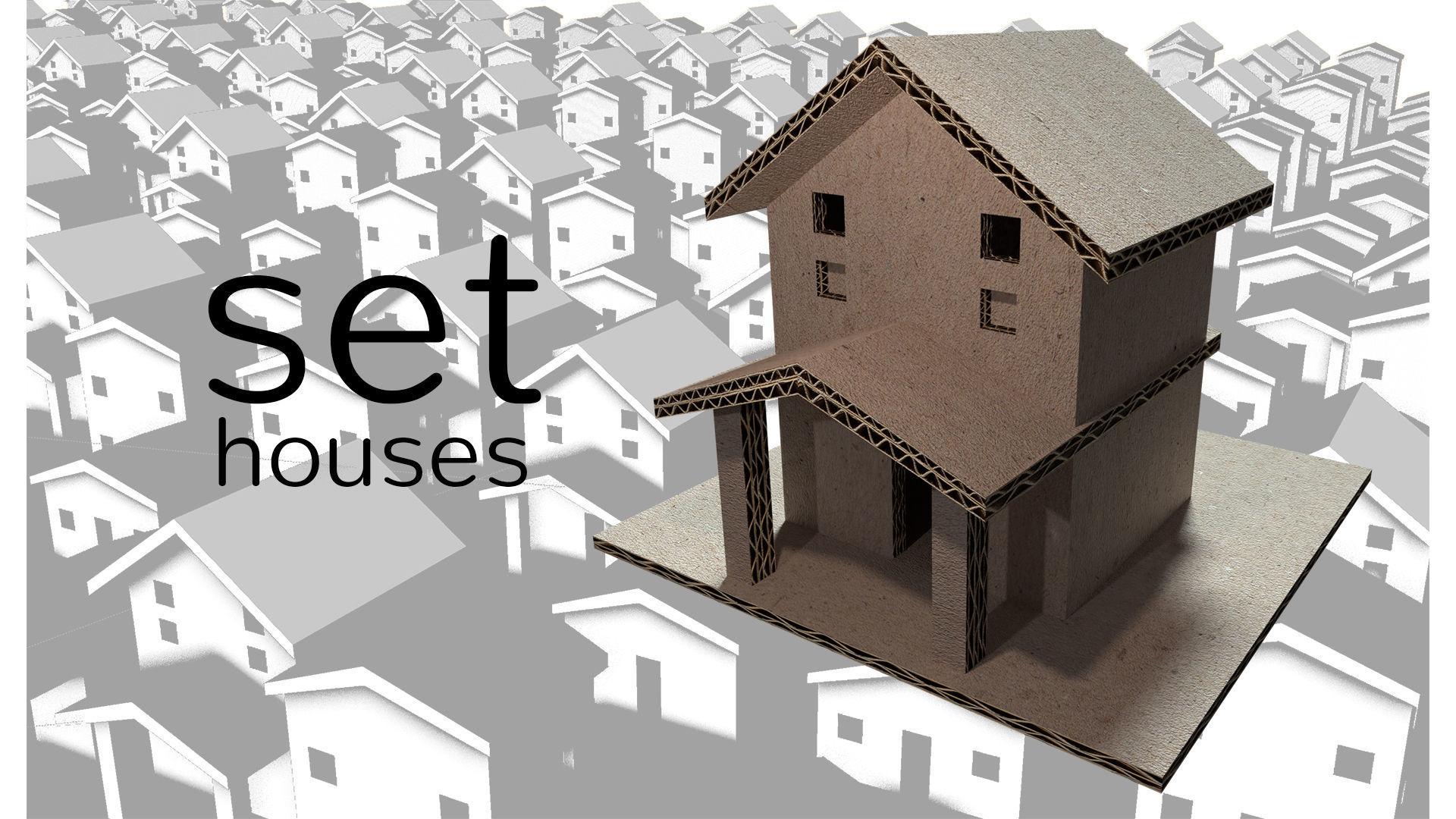 Cardboard House Set 3d Model