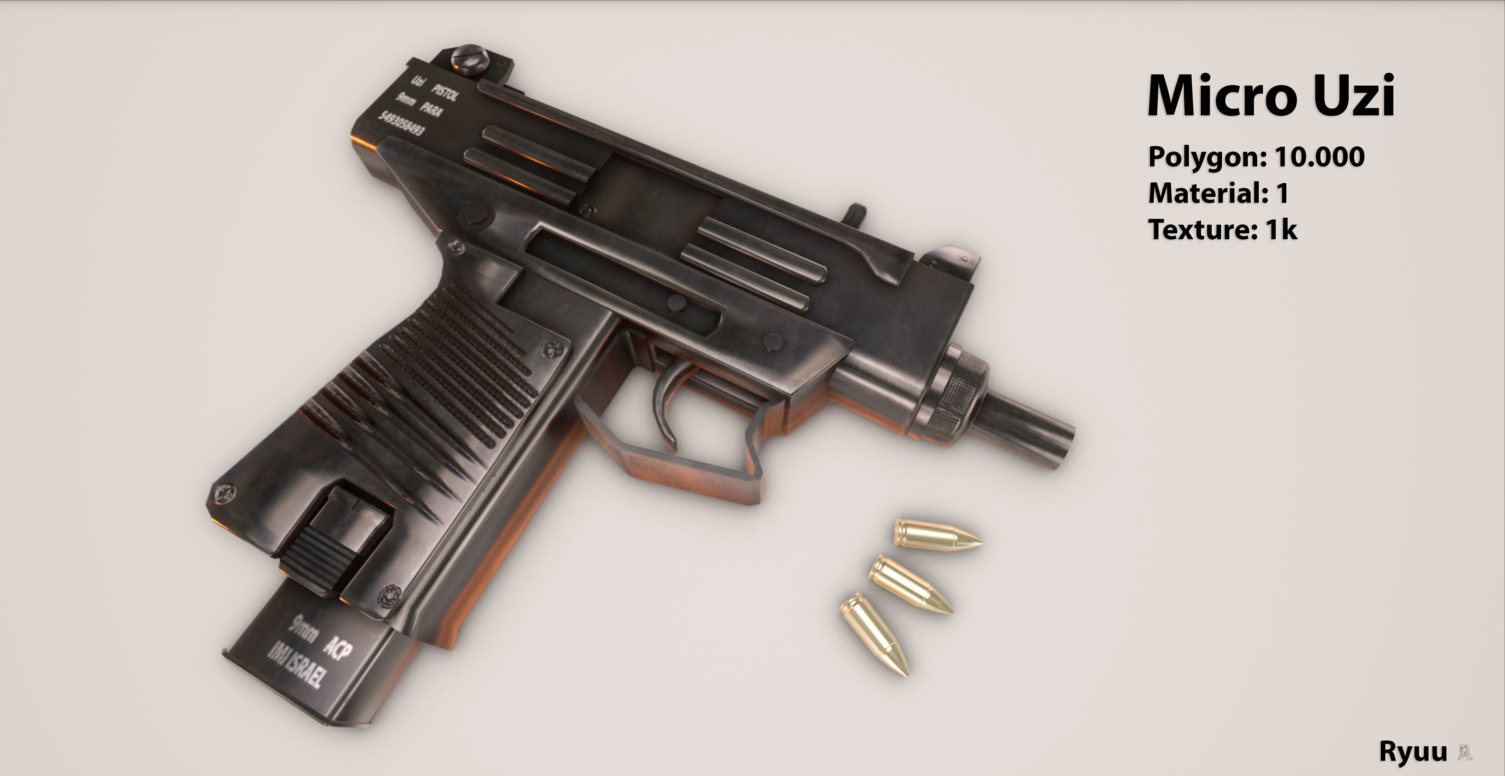 3d Model Low Poly Micro Uzi Cgtrader