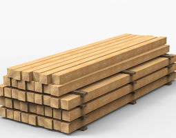 wooden beams game-ready 3d model