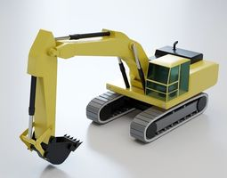3D model Hydraulic Excavator Lowpoly - Heavy Machinery