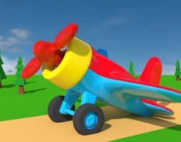 Toy Plane 3D model animated