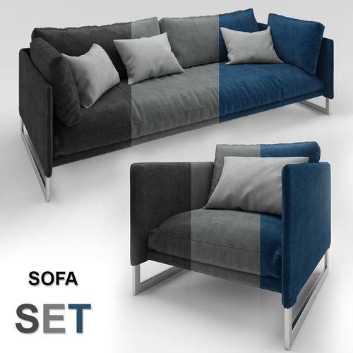 Velvet Sofa Set 3d Model Max Obj Mtl 1 ...