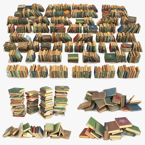 large collection of old books 3d model max fbx 1