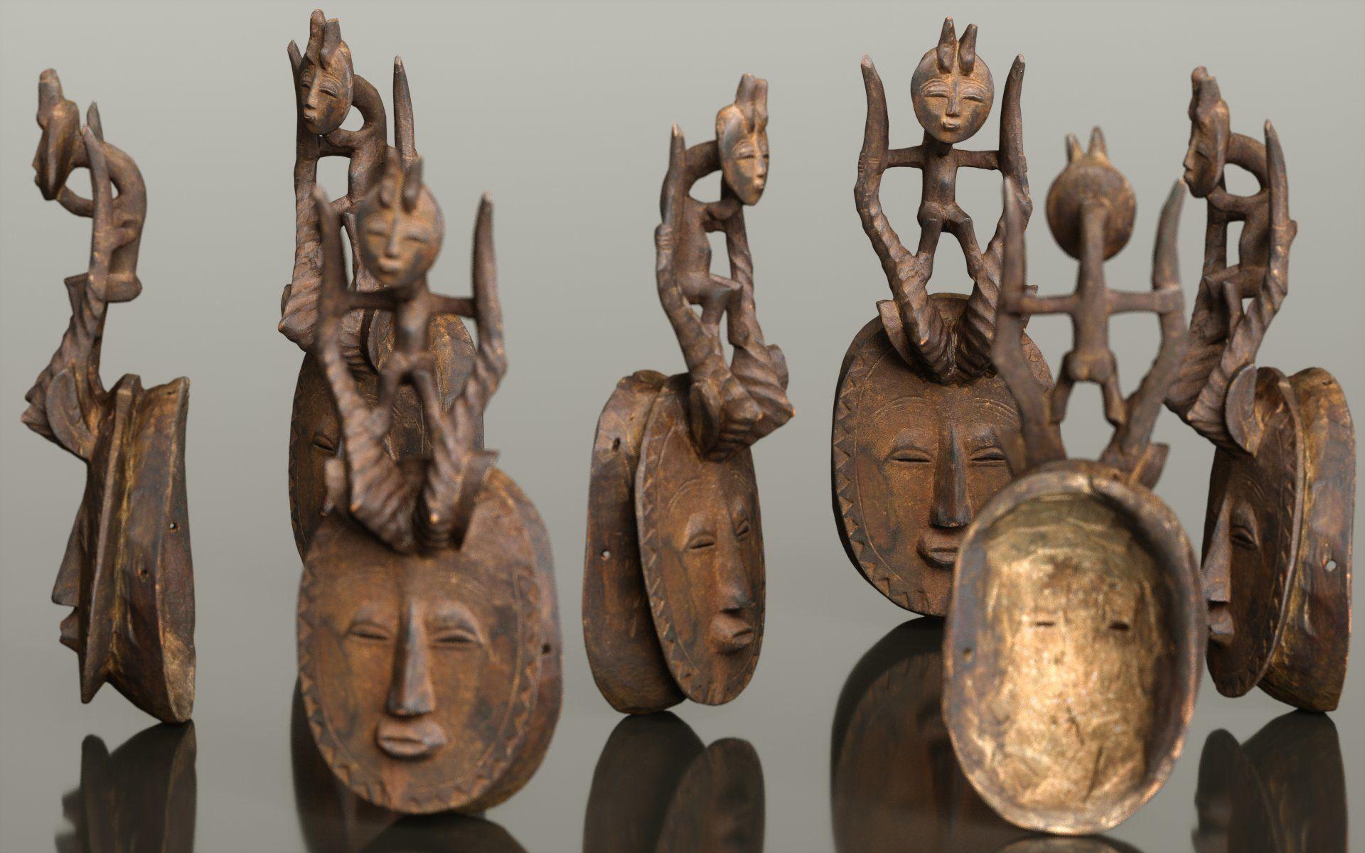 Afrikan Mask Carved Wood 49