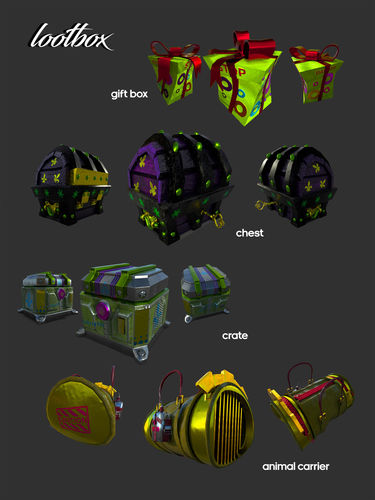loot boxes bundle  3d model low-poly rigged animated obj mtl fbx ma mb 1