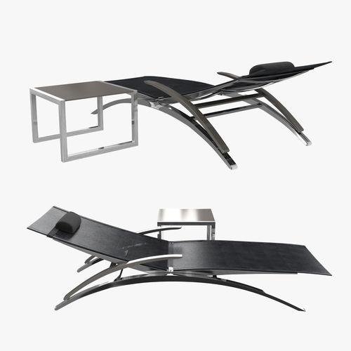royal botania o-zon lounger and ninix side table 3d model max obj mtl 3ds fbx stl dwg 1