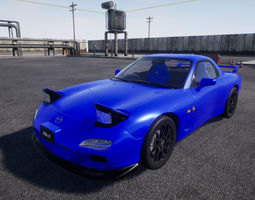 3D model animated Mazda RX7 UE4 project