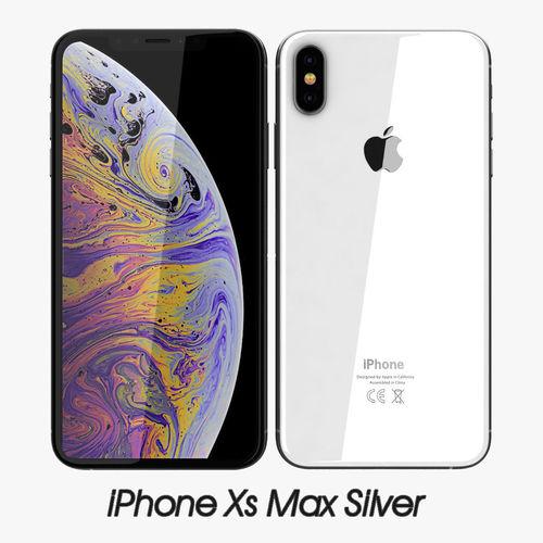 apple iphone xs max silver 3d model max obj mtl 3ds fbx c4d 1