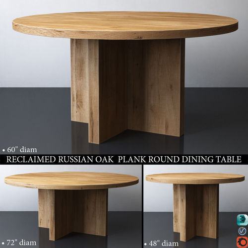Beautiful Reclaimed Russian Oak Plank Round Dining Table 3d Model Max Obj Mtl 3ds Fbx  Mat 1 ...