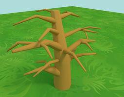 3D asset Cartoon Game Tree Trunk
