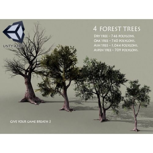 4 forest trees  3d model low-poly max obj mtl fbx unitypackage prefab 1