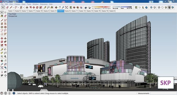 sketchup commercial and office complex b3 3d model skp 1