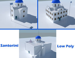 3D model Blue Dome Church in Santorini