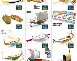 3D model Ancient Egypt Ships Boats Collection