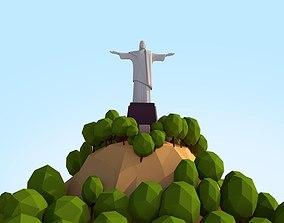 3D model Low Poly Christ Redeemer Landmark