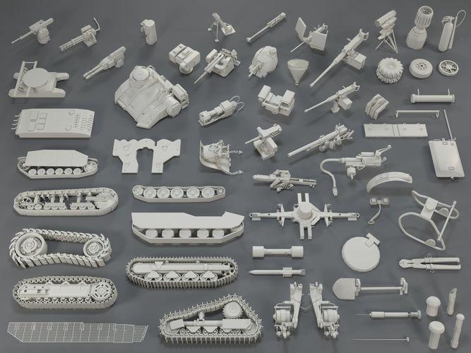 tank parts - 60 pieces - collection-1 3d model max obj mtl fbx stl 1