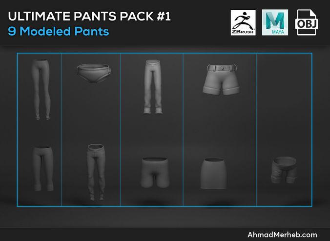 ultimate pants pack  1 models 3d model obj mtl 1