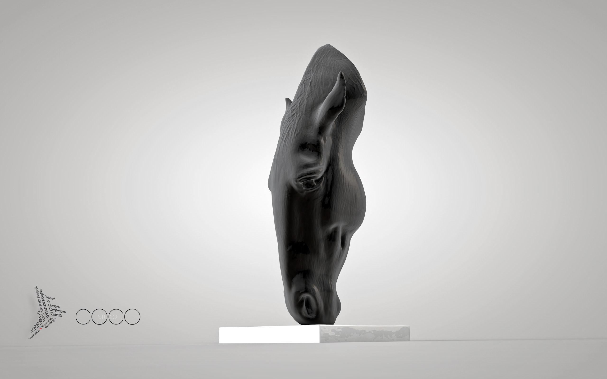3D Print Ready MARWARI HORSE HEAD Sculpture