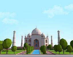 3D asset Cartoon Low Poly Taj Mahal Landmark