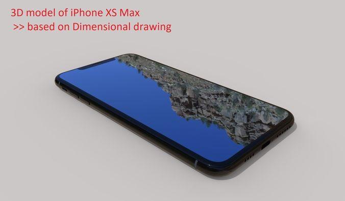 iphone xs max - original dimensions 3d model obj mtl stl sldprt sldasm slddrw ige igs iges stp 1