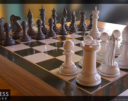 Chess Pieces with Board 3D model