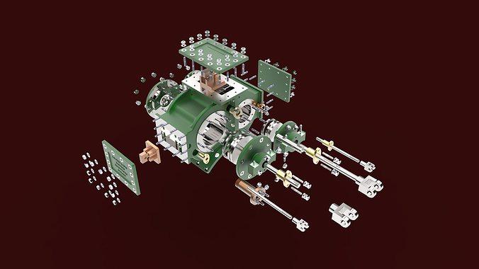 garret steam stationery engine 3d model sldprt sldasm slddrw 1