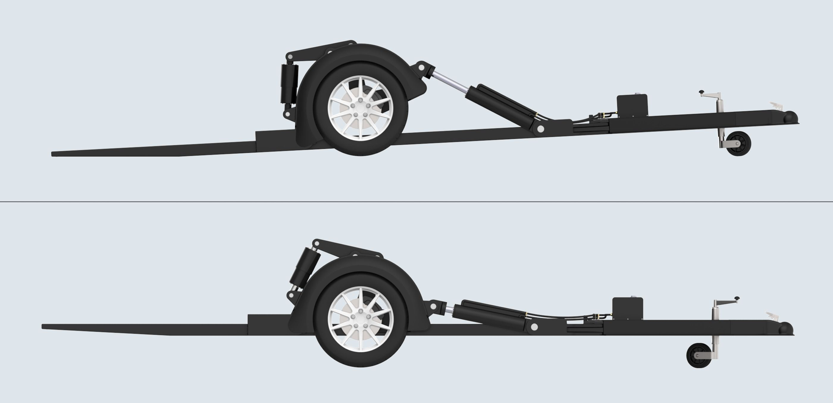Bauer drop down trailer free 3d model sldprt sldasm slddrw for Crank down fish house axles