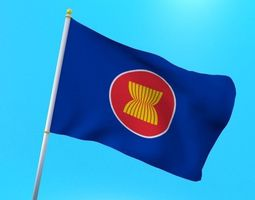 3D model Asean flag animated low poly