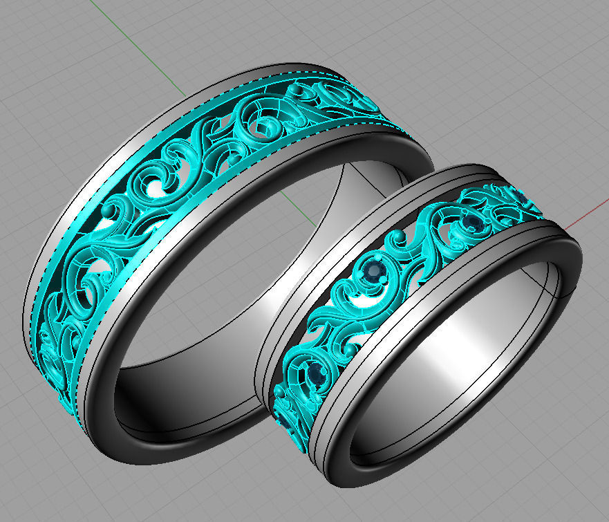 Wedding Rings Gold Model Stl