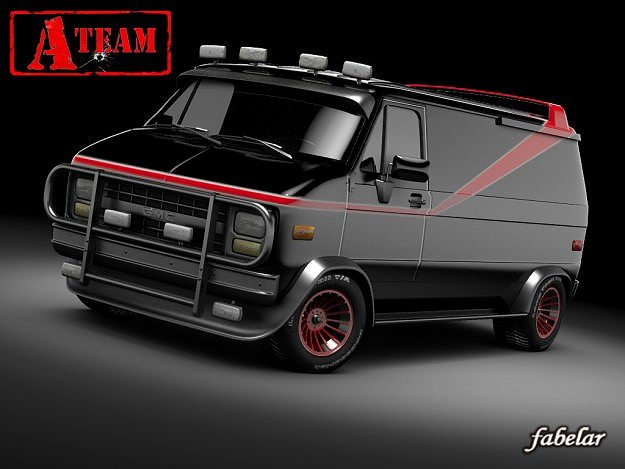 A Team Gmc Van 3d Model Rigged Max Mat 1