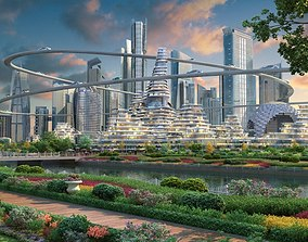 Future city 02 3D animated