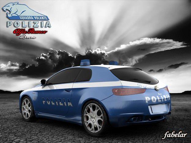 alfa brera polizia std mat 3d model rigged max obj 3ds c4d mat 1