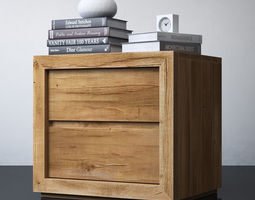 RECLAIMED RUSSIAN OAK 26in CLOSED NIGHTSTAND 3D model