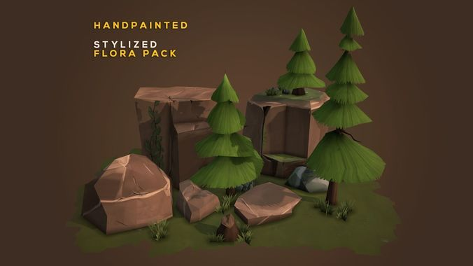 handpainted stylized environment - flora pack 3d model fbx tga 1