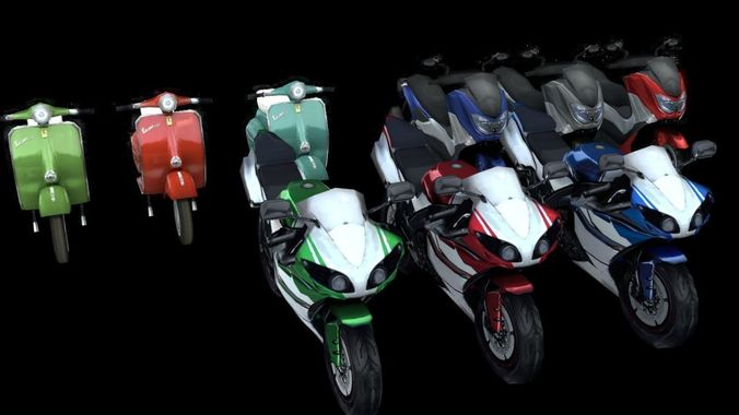 motorcycles 3d model lowpoly pack 3d model low-poly rigged obj mtl blend 1
