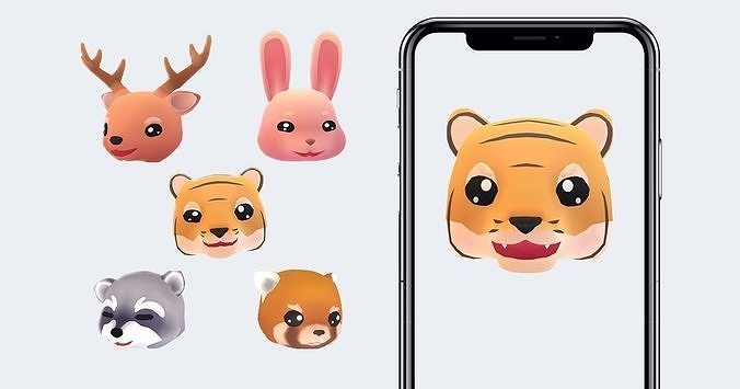 animoji animals 3d model low-poly rigged animated obj mtl 3ds fbx 1