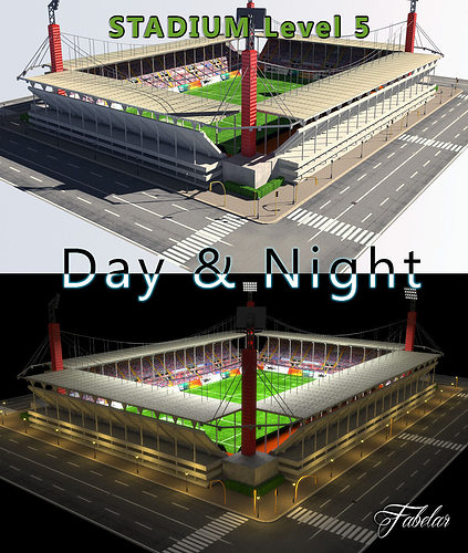 Stadium Lights C4d: 3D Model Stadium Level 5 Day-Night VR / AR / Low-poly MAX